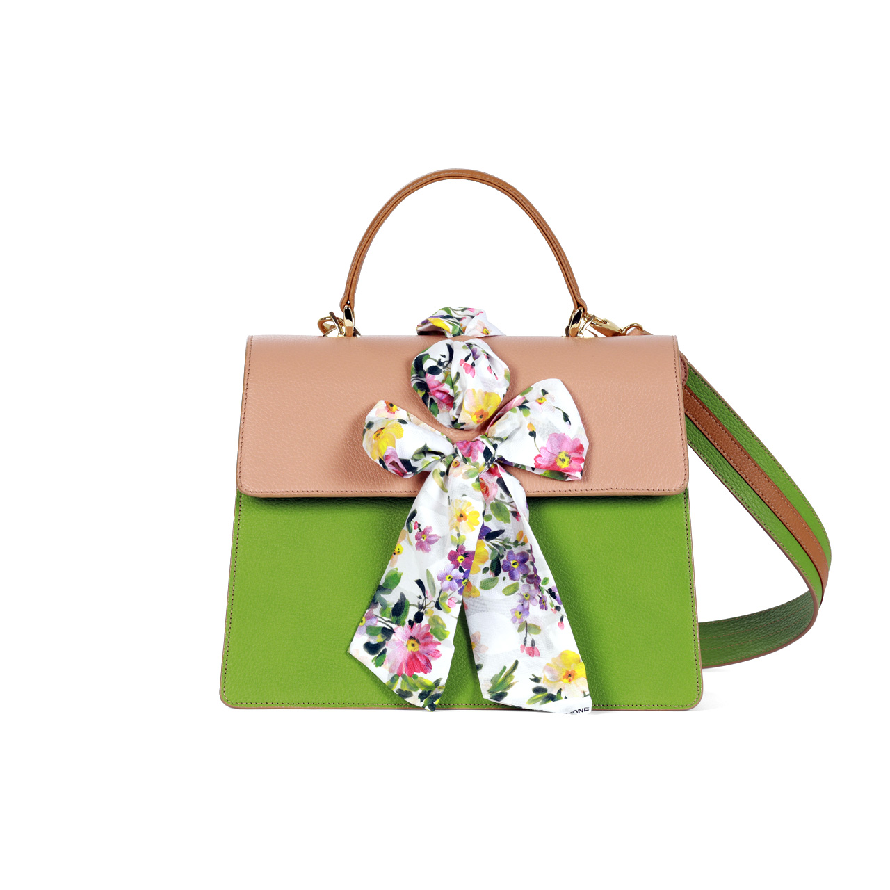 Flavia Pistacho Green, Pink and leather